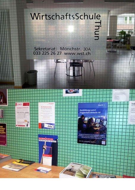 Plakataushang Wirtschaftsschule Thun