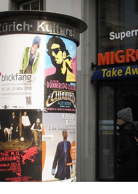 Plakataushang Zürich Niederdorfstrasse